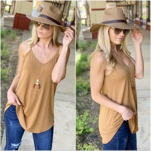 Camel Sleeveless Tunic Tank Reversible